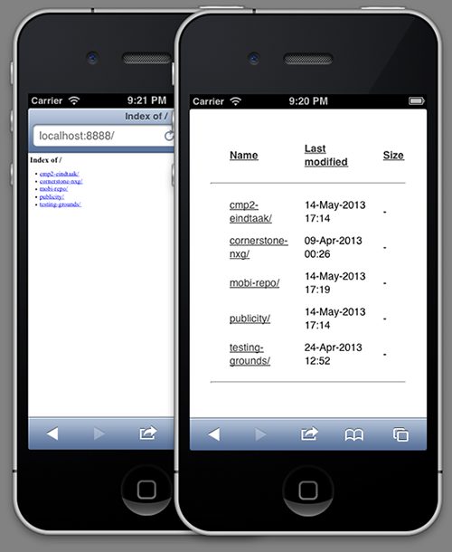 Before and after on a mobile device, in this case on an iPhone.