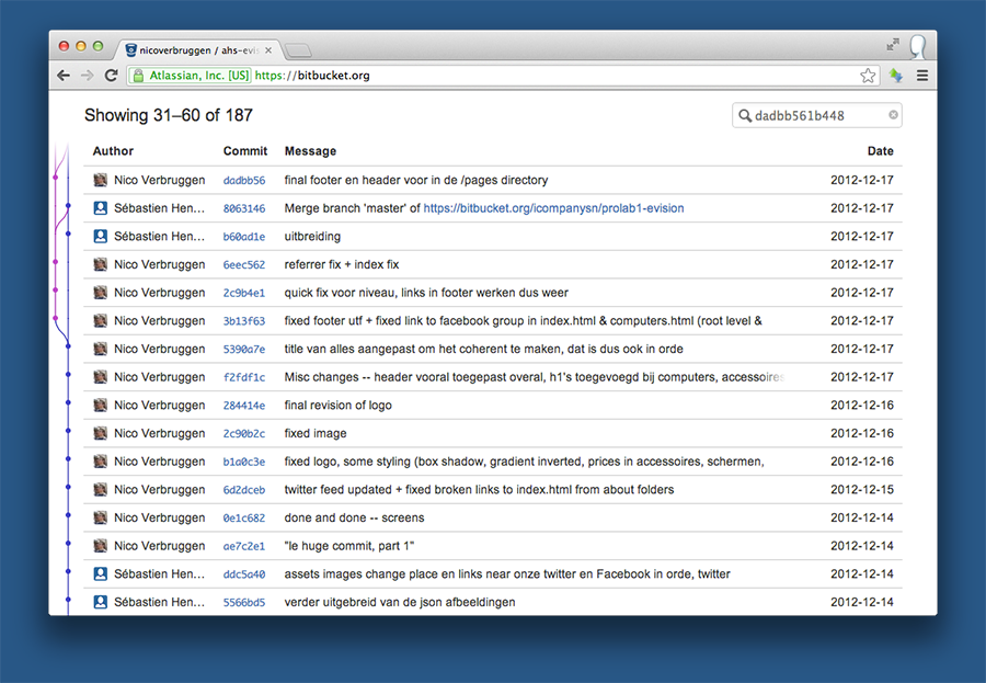 Here you can see how merging worked on our project before we really got to know Git.