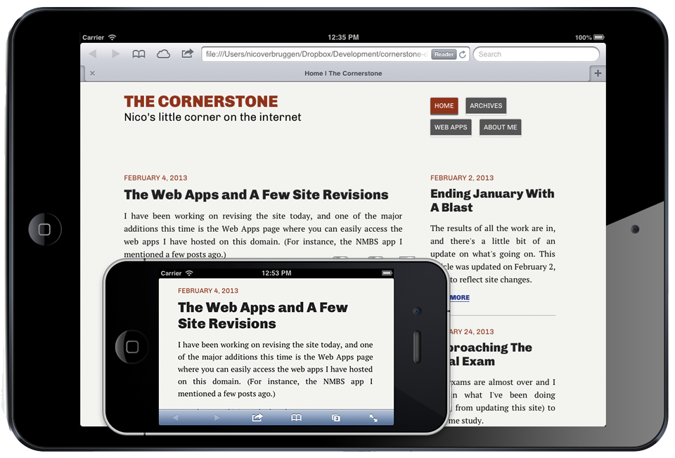 A screenshot of The Cornerstone running on the iPhone and iPad in landscape (using iOS Simulator). As you can see, reading articles this way is much easier.