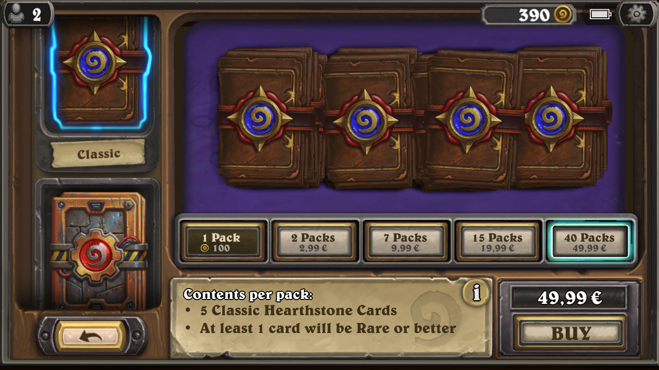 Unlike most games with in-game currencies and in-app purchases, Hearthstone actually has a reasonable system in place to unlock content. (It's also a card game, which gives them a few liberties they can take.) Frankly, I still find it too expensive if I want all the game has to offer...