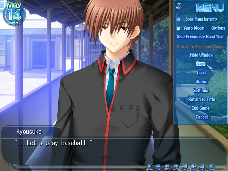 This is a screenshot of 'Little Busters!', a visual novel by Key/VisualArt's. This is a screenshot of the fan translation.