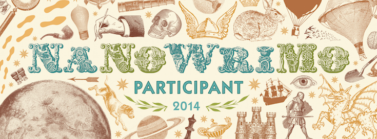 A web banner of NaNoWriMo. Every year there's new artwork you can use to tell people about your love for writing.