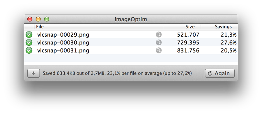 ImageOptim in action, making snapshots made with VLC smaller, without any quality loss.