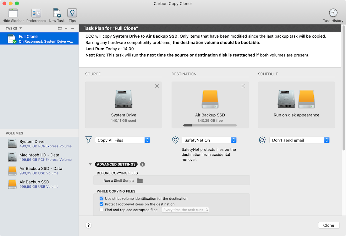 Carbon Copy Cloner allows you to set up various types of backups. I have a complete clone set up for my MacBook. The way I have it set up, it will automatically be backed up whenever I connect the external disk.