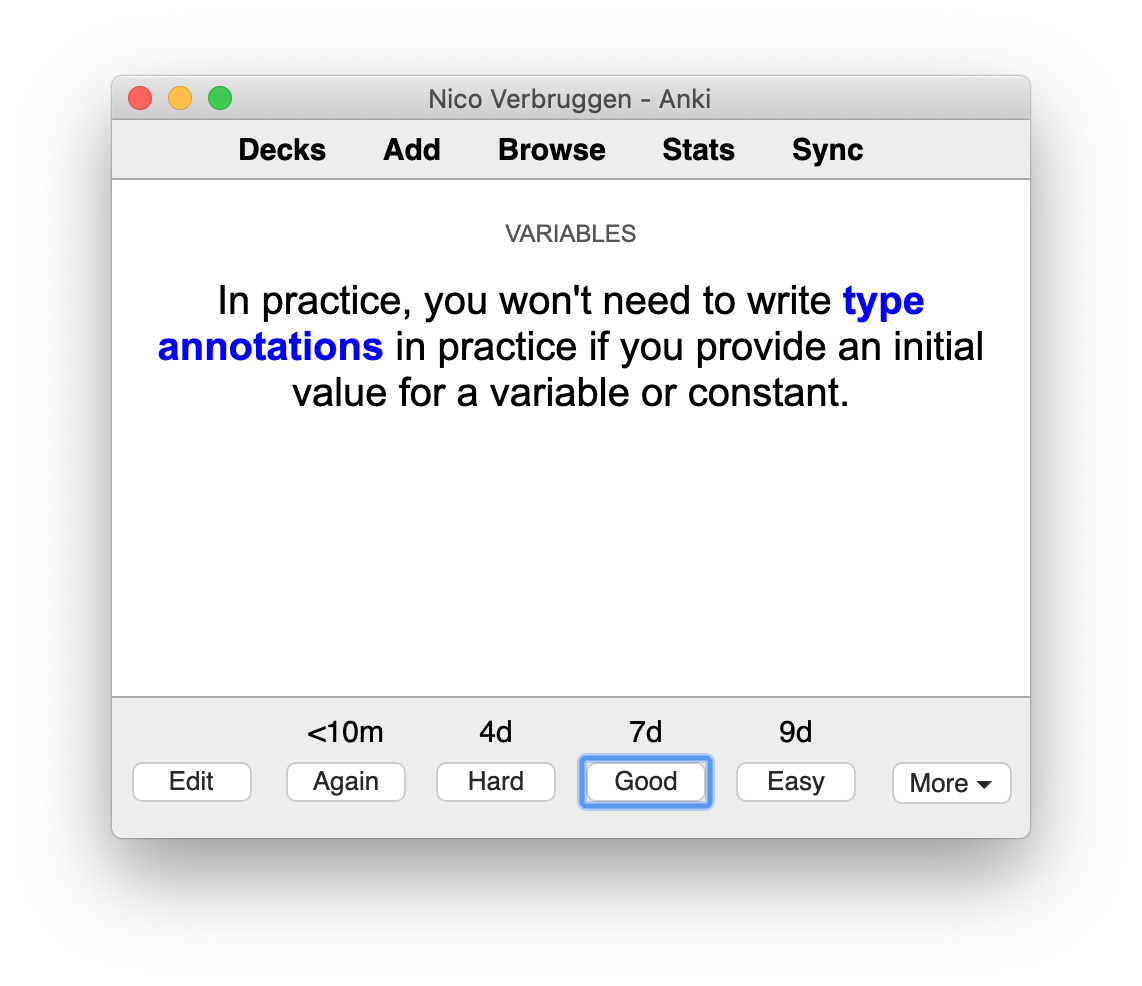 Reviewing Swift flashcards using Anki. As you can see, I also annotate some cards with a category or subject.